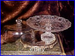 LST 1! Glass Covered Footed ORNATE Pedestal CAKE PLATE 3 Ring Stem BEAUTY NIB