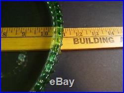 L. E. SMITH Green Hobnail Glass Cake Stand Pedestal Plate 11 Diameter 5 High
