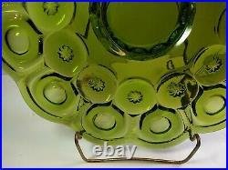 L. E. Smith Glass Cake Plate Moon & Stars Dark Green low pedestal stand 12.5
