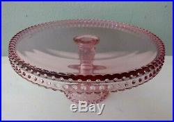 L. E. Smith Hobnail Pink Glass Pedestal Cake Plate 11