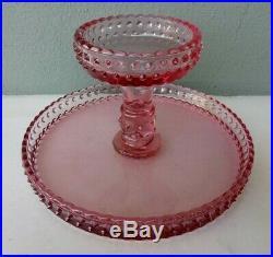 L. E. Smith Hobnail Pink Glass Pedestal Cake Plate 9