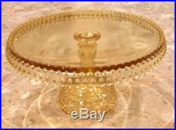 L E Smith Hobnail Yellow Round Pedestal Cake Stand 11x5 Easter Holiday Baby