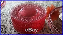 L. E. Smith Pink Hobnail Glass Pedestal Large Cake Stand Set 8 Plates Dish Easter