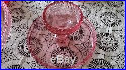 L. E. Smith Pink Hobnail Glass Pedestal Large Cake Stand Set 8 Plates Dish Easter