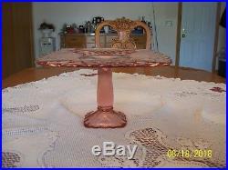 L. E. Smith Pink Rose Trellis Pedestal Pellar Square Cake Plate Stand Diamond Cut