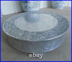 Large 21.5 inch Silver Plate Cake Dessert Pedestal Banquet Hall Display Stand