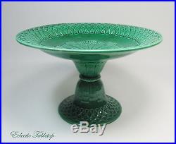 Large Green Majolica Wedgwood Style Pedestal Cake Plate