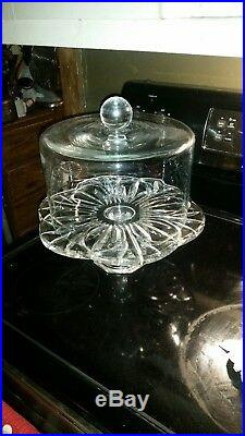 Large Heavy 24% Lead Crystal 13 Pedestal Cake Plate by Block AND Crystal Dome