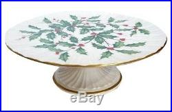 Lenox China 10 1/2 Holiday Holly Pattern Pedestal Footed Cake Plate Stand