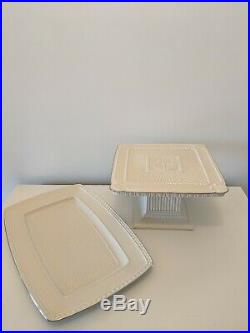 Lenox Forum Square Cake Plate Footed Pedestal China Platinum and Serving Platter