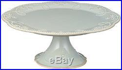 Lenox French Perle Pedestal Cake Plate, Medium, Ice Blue