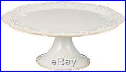 Lenox French Perle Pedestal Cake Plate, Medium, White