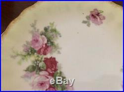 Limoges Cake Stand + Plate, Pink Red Cabbage Roses Pedestal Dessert