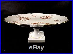 Limoges France Bird Of Paradise Pedestal Cake Hors D'oeuvres Plate Gold Trim
