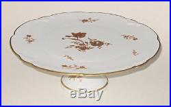 Limoges France Footed Pedestal Cake Plate Stand, Gold Roses, Scalloped Edges