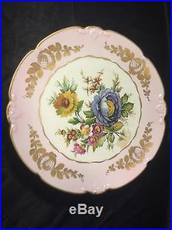 Limoges France Footed Pedestal Cake Plate Stand with Pink Gold & Floral Decoration