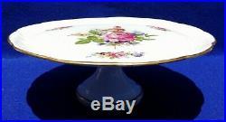 Limoges France Hnd Ptd Floral Porcelain Gold Trim Pedestal Cake Plate Stand 5614