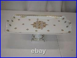 Limoges, France, Pate de Limoges, Hand Painted Gold Pedestal Plate, 12 1/2 gold