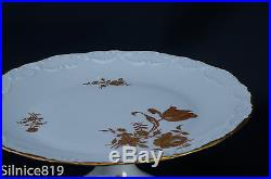 Limoges France Pedestal Cake Plate Scalloped Edge Gold Roses