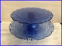 Lot- Vintage Cobalt Blue Depression Glass Cake Stand Pedestal Plate Vine Leaf
