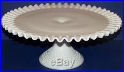 Lovely Vintage Fenton Art Glass Milk Glass Hobnail 12 1/2 Pedestal Cake Plate