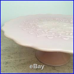 Lovely Vintage Fenton Rose Pink Pastel Spanish Lace Pedestal Cake Plate 12.75