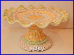 MACKENZIE CHILDS Cake Pedestal Plate Stand Ruffled Edge Aurora
