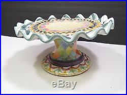 MACKENZIE CHILDS Pedestal Cake Plate Fluted Large Stand