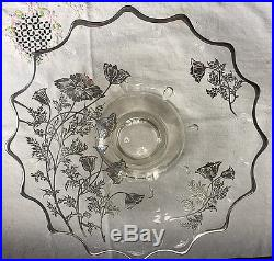 MAGNIFICENT Vintage Sterling Silver Embossed Coin Dot Poppy Pedestal Cake Plate