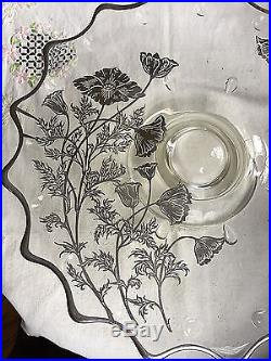MAGNIFICENT Vintage Sterling Silver Embossed Poppy Pedestal Cake Plate, Coin Dot