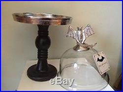 METAL BAT Handle GLASS DOME CAKE CHEESE PLATE STAND PLATTER PEDESTAL Halloween