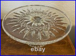 MINT Waterford Crystal Gold Lismore 11 Footed Pedestal Cake Plate Stand