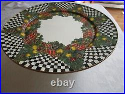 MacKenzie Childs Pedestal Cake Stand Plate Holiday 16 Excellent