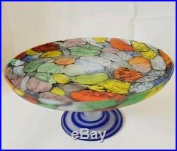 Maciej (Matt) Dyszkiewicz Art Glass PEDESTAL CAKE PLATE Stand Cobalt frosted
