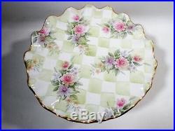 Mackenzie Childs China Single Pedestal Ruffled Cake Plate Sweet Pea