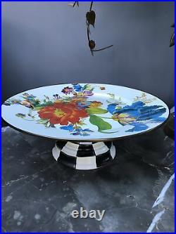 Mackenzie Childs Enamelware Flower Market Large Pedestal Platter/ Cake Plate