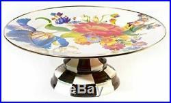 Mackenzie Childs Enamelware Flower Market Small Pedestal Platter/ Cake Plate