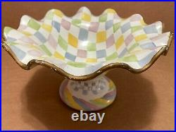 Mackenzie Childs Fluted Compote Pedestal Bowl Cake Plate
