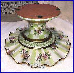 Mackenzie-Childs Green Sweet Pea Honeymoon Pedestal Ruffled Cake Plate