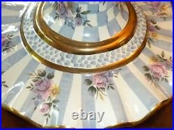 Mackenzie Childs Morning Glory Blue Honeymoon Pedestal Cake stand