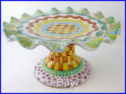 Mackenzie Childs Pottery Fluted Aurora Cake Stand Pedestal Plate Ruffled Edge
