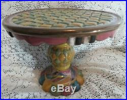 Mackenzie Childs TRAPEZE Footed Pedestal Cake Plate Stand Unused Discontinued