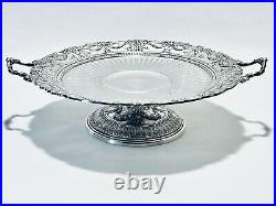 Magnificent Antique Mid 18C Victorian Meriden Pedestal Silver Plated Cake Stand