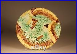 Majolica Aesthetic Style Overlapping Begonia Leaf Round Pedestal Cake Plate