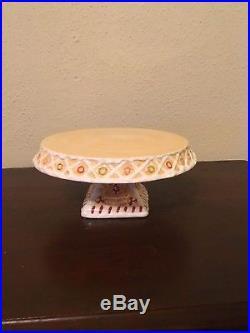 Mark Roberts Gingerbread Man Pedestal Cake Stand Plate 9 Ceramic Handpainted