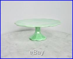 Martha Stewart 1990s Jadeite Jadite Green Glass Pedestal Cake Stand Plate