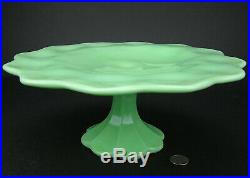 Martha Stewart by Mail Jadeite Jadite Green Glass Cake Stand Cakeplate Pedestal