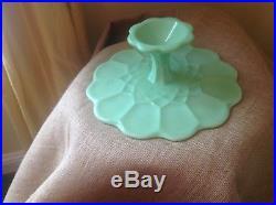 Martha Stewart by Mail MBM Jadeite Green Glass Pedestal Cake Stand Plate 12