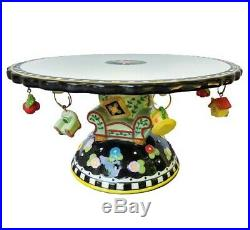 Mary Engelbreit 2001 Pedestal Cake Plate Stand Overstuffed Chair Charms 11.5 in