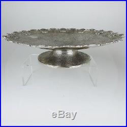 Massive Antique Silver Indian Cake Plate / Tray On Pedestal Kashmir Ca 1910